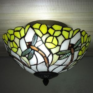 Dragonfly Motif Country 10 Inch Wide Tiffany Flush Mount Ceiling Light with Yellow Flower Pattern