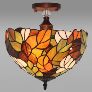 Leaf Motif Bowl Shade 12 Inch Tiffany Style Flush Mount Ceiling Light