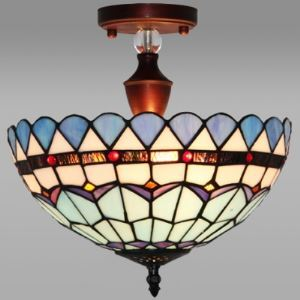 Blue Pattern 12 Inch Vintage Semi Flush Mount Ceiling Light  in Tiffany Stained Glass Style