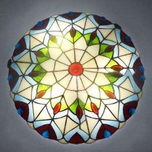 Peacock Stained Glass Tiffany Two-light Flush Mount Ceiling Light in Peacock Pattern