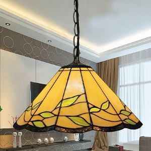 12 Inch Wide Leaf Motif One-light Tiffany Hanging Pendant Lighting