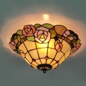 Dome Shape Tiffany Flush Mount Ceiling Light with Pink Rose