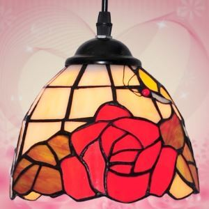 One-light Downward Red Rose Tiffany Hanging Pendant Lighting