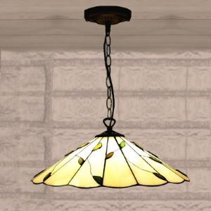 Nature 16 Inch Wide Green Leaf Theme One-light Tiffany Hanging Pendant Light