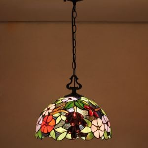 Flower and Grape Pattern Country Style 12 Inch Wide Tiffany Hanging Pendant Lighting