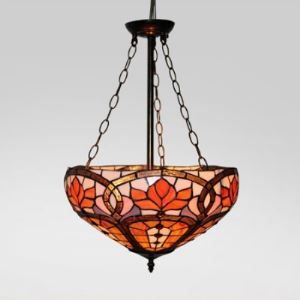 16 Inch Chandelier Pendant Lighting in Tiffany Stained Glass Style Uplight