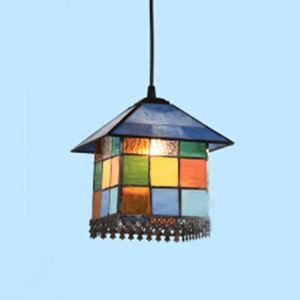 Mosaic Style Colorful Stained Glass Tiffany One-light Hanging Pendant Lighting