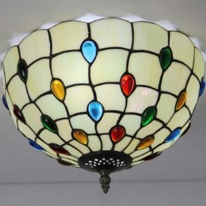 White Bowl Shade 12 Inch Flush Mount Ceiling Light  in Tiffany Stained Glass Style