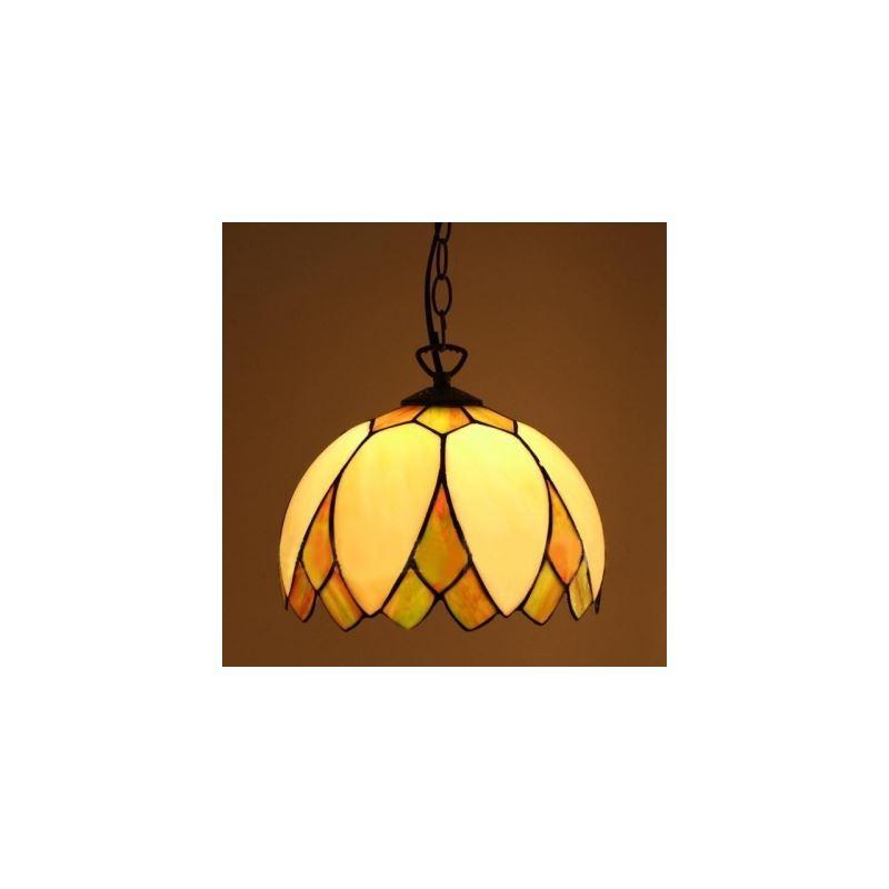 Image of 10 Inch Leaf-covered Shade Design 1 Light Downward Tiffany Pendant