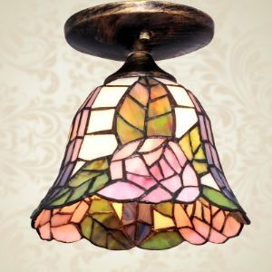 Country Style  Floral Motif Tiffany Semi Flush Mount Ceiling Light
