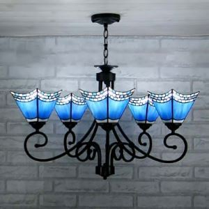Blue Stained Glass Wrought IronTiffany Five-light Chandelier with Uplight