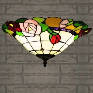 Tiffany Style Flush Mount Ceiling Light with Red Rose Pattern