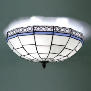 16 Inch Blue and White Geometric Pattern Flush Mount Ceiling Light in Tiffany Style