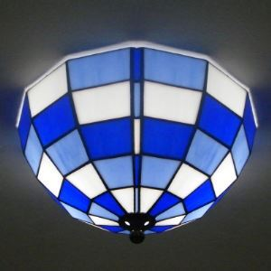 Blue Stained Glass Bowl Shade Tiffany 2-light Flush Mount Ceiling Light