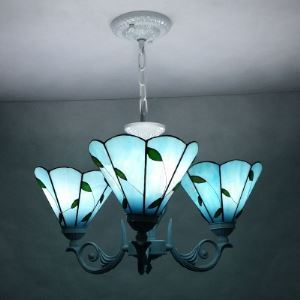 Blue Stained Glass 16 Inch Leaf Motif 3-light Tiffany Chandelier Ceiling Light