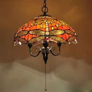 With Pull Chain Country Style 18 Inch Wide Tiffany Pendant Light with Dragonfly Pattern