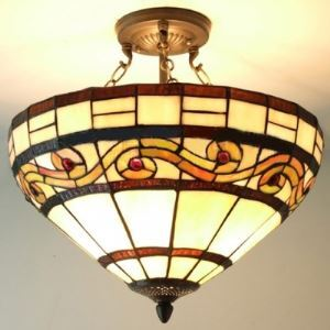 Transitional 16 Inch Stained Glass Tiffany 3-light Chandelier Umbrella Shade