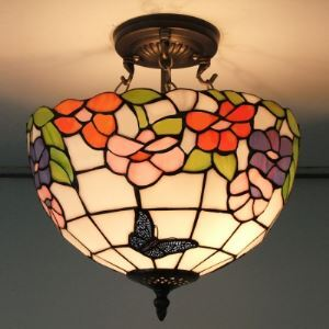 Flower and Butterfly Stained Glass Tiffany 2-light Semi Flush Mount Ceiling Light