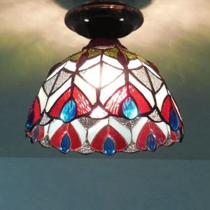 Bowl Shape Peacock Pattern Stained Glass Tiffany Semi Flush Mount Ceiling Light