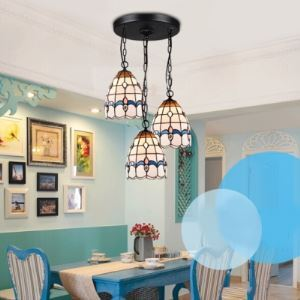 Round Base 10 Inch Three-light Hanging Pendant Lighting in Tiffany Stained Glass Style