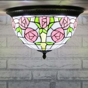 Country Style Tiffany Pink Rose Flush Mount with Metal Edge