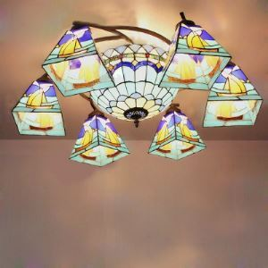 Blue Sailboat Pattern Stained Glass Tiffany Eight-light Chandelier with Center Bowl