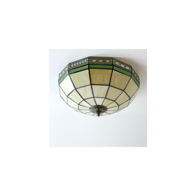 white stained glass 12 inch tiffany 2 light flush mount. Black Bedroom Furniture Sets. Home Design Ideas