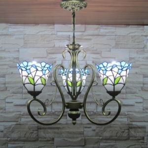 Bronze Finished 18 Inch Wide Bue Leaf Stained Glass Three-light Tiffany Chandelier Ceiling Light