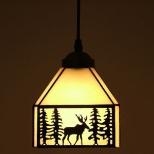 Elk Pattern 6 Inch Mini Hanging Pendant Lighting in Tiffany Stained Glass Style