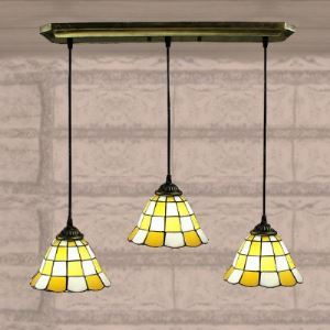 White Finished Yellow Pattern 24 Inch Kitchen Pendant Lighting in Tiffany Stained Glass Style