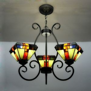 Bronze Wrought Iron Stained Glass Tiffany Three-light Chandelier