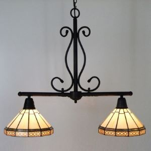 Traditinal Two Cone Shades 27 Inch Island Pendant Lighting in Tiffany Stained Glass Style