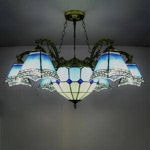 8-light Traditional Bronze Blue Stained Glass Tiffany Chandelier with Center Bowl