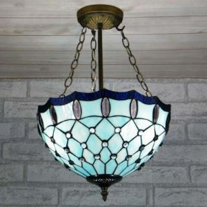 Romantic Blue Stained GlassTiffany Three-light Chandelier in Bowl Shade