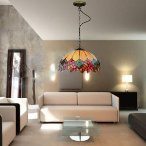 Leaf and  Fruit Pattern Country Style 12 Inch Wide Tiffany Pendant Light