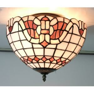 White Baroque Pattern 12 Inch Flush Mount Ceiling Light in Tiffany Stained Glass Style