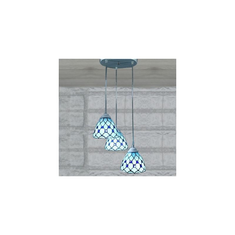 10 Inch Round Base Blue Stained Glass Tiffany 3-light Dinning Room Pendant