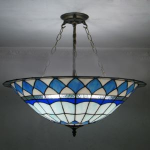 Blue Diamond Pattern 24 Inch Chandelier Pendant Lighting in Tiffany Stained Glass Style