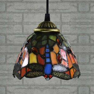 Dragonfly Pattern Country Style 24 Inch Wide Tiffany Dinning Room Pendant Light