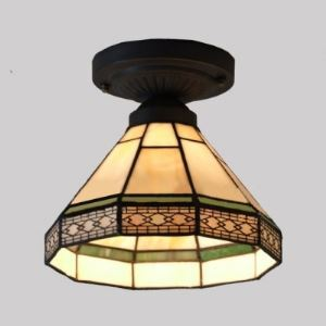 Geometric Pattern 8 Inch Mini Semi Flush Mount Ceiling Light  in Tiffany Stained Glass Style
