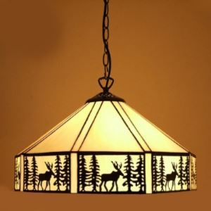 Rustic Style 19 Inch Hanging Pendant Lighting in Tiffany Stained Glass Style