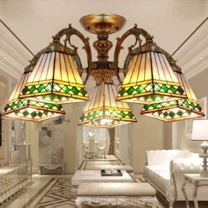 Five-light Bronze Armed Cone Stained Glass Tiffany Chandelier Ceiling Light
