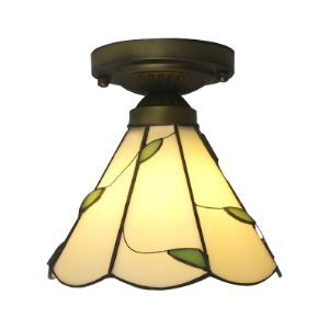 Country Style Tiffany 8 Inch Green Leaf Motif Semi Flush Mount Ceiling Light