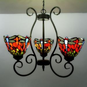 20 Inch Wide Red Stained Glass Country Style Tiffany Chandelier with Dragonfly Pattern