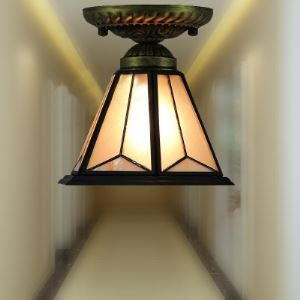 Frosted White Stained Glass Cone Shade Tiffany Semi Flush Mount Ceiling Light