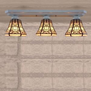 Three-light Lodge Style Stained Glass Tiffany Semi Flush Mount Ceiling Light