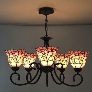 Five light nature inspired 24 inch pink stained glass tiffany five light nature inspired 24 inch pink stained glass tiffany chandelier ceiling light aloadofball Images