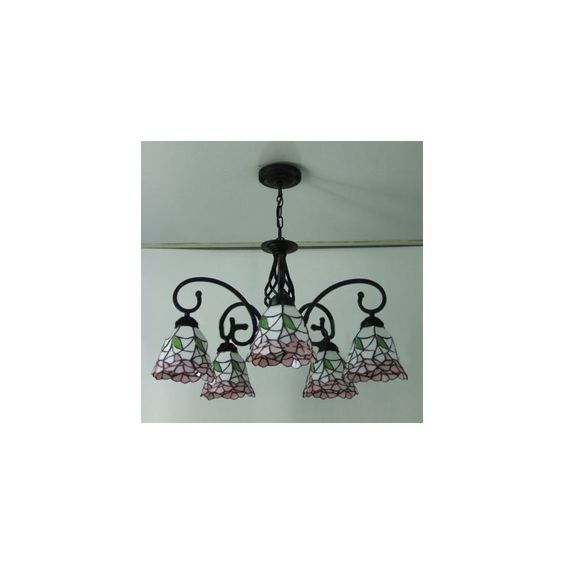 Five-light Nature Inspired 24 Inch Pink Stained Glass Tiffany Chandelier Ceiling Light ...