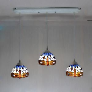 Dragonfly Patterned 24 Inch Wide Tiffany Dinning Room Pendant Light  with Three Lights
