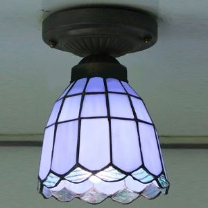 Purple Pattern 5 Inch Mini Semi Flush Mount Ceiling Light  in Tiffany Stained Glass Style